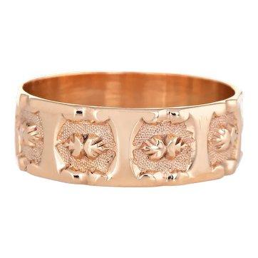 Antique Victorian Wedding Band Leaf Pattern 14 Karat Rose Gold Sz 6.5 Vintage Ring
