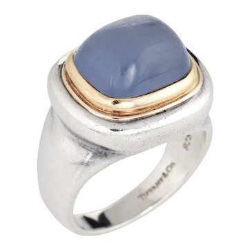 Tiffany & Co Paloma Picasso Blue Chalcedony Ring Silver 18 Karat Gold Vintage Jewelry