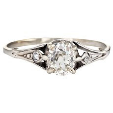 Antique Deco 0.75ct Diamond Engagement Ring Vintage 10 Karat White Gold Vintage 6.25