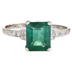 Art Deco 2ct Emerald Diamond Engagement Ring Platinum Gemstone Vintage Jewelry