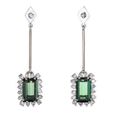"Green Tourmaline Diamond Drop Earrings Vintage 18 Karat White Gold Square Dangle 1.5"""