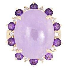 Lavender Jade Amethyst Diamond Ring Vintage 14 Karat Yellow Gold Oval Cocktail Sz 8