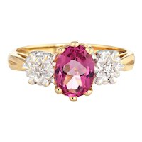 Pink Tourmaline Diamond Ring Vintage 14 Karat Yellow Gold Estate Fine Jewelry Sz 6
