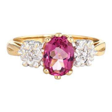 Pink Tourmaline Diamond Ring Vintage 14 Karat Yellow Gold Estate Fine Jewelry Sz 6