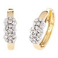 """1.52ct Diamond Cluster Hoop Earrings 1.25"""" Vintage 14 Karat Yellow Gold Jewelry"""