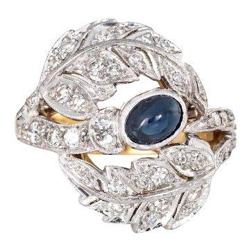Sapphire Diamond Leaf Ring Vintage 18 Karat Yellow Gold Estate Fine Jewelry Size 5