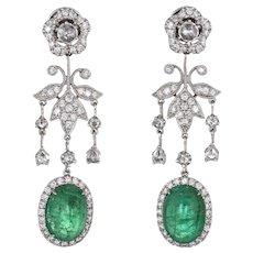 9ct Emerald 1.50ct Diamond Earrings Estate 14 Karat White Gold Flower Drop Jewelry