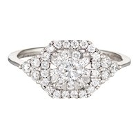 Memoire 0.71ct Diamond Ring Estate 18 Karat Gold Square Cluster Fine Jewelry Sz 7