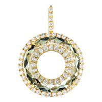 Prasiolite Diamond Halo Pendant 18 Karat Yellow Gold Round Enhancer Estate Jewelry