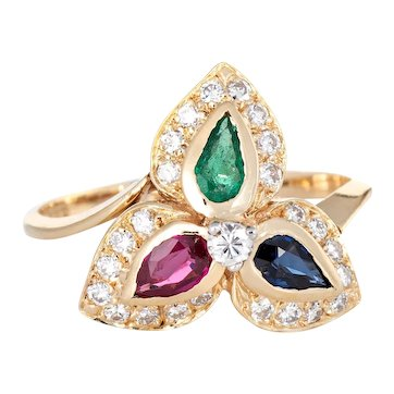 Multi Gemstone Diamond Ring Vintage 14 Karat Yellow Gold Pear Cut Cocktail Jewelry 6