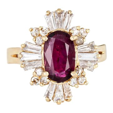 Ruby Diamond Ring Mixed Cuts Vintage 14 Karat Yellow Gold Cocktail Jewelry Estate 6