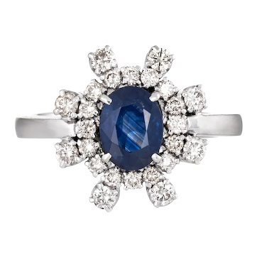 Sapphire Diamond Ring Vintage 18k White Gold Cocktail Jewelry Sz 8 Estate Fine