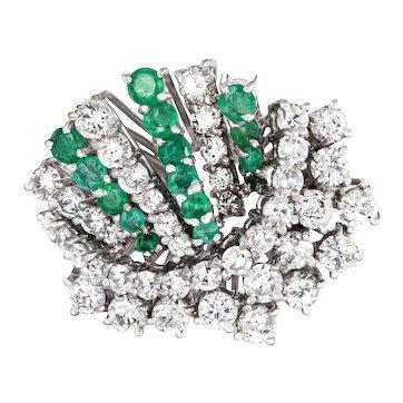 1.50ct Diamond Emerald Cluster Ring Vintage 18 Karat White Gold Spray Jewelry 7.75