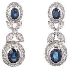 Effy Bita Diamond Sapphire Earrings Estate 18 Karat White Gold Drop Dangle Jewelry