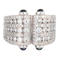 2.25ct Diamond Sapphire Cuff Ring Vintage 18 Karat White Gold Sz 6.25 Estate Jewelry