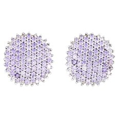 3ct Tanzanite Earrings Estate 14k White Gold Clip On Backings Round Pave Set