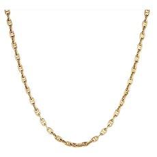 "Mariner Link Chain Vintage 14 Karat Yellow Gold 44.4gm Diamond Clasp 22"" Nautical"