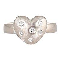 Tiffany & Co Diamond Etoile Heart Ring 18 Karat White Gold Sz 5 Estate Fine Jewelry