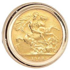 Vintage Gold Coin Ring 1968 Saint George Dragon 21 Karat Round Statement Jewelry