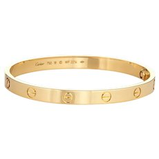 Cartier Love Bracelet Sz 18 18 Karat Yellow Gold Pre Owned Signed New Screw System