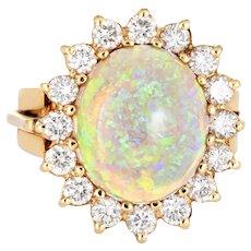 Fiery Opal Diamond Ring Vintage 14 Karat Yellow Gold Opal Princess Cocktail Jewelry