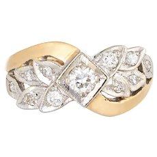 Vintage Diamond Wedding Band 14 Karat Gold Two Tone Ring Leaf Motif Estate Jewelry