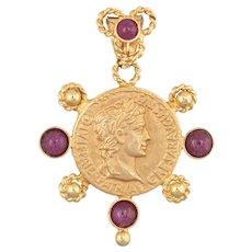 Bust of Caesar Pendant Estate 14 Karat Yellow Gold Ruby Fine Etruscan Style Jewelry