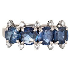 Sapphire Diamond Anniversary Ring Vintage 14 Karat White Gold Sz 6 Estate Jewelry