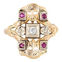 Diamond Ruby Shield Ring Vintage 14 Karat Yellow Gold Square Estate Fine Jewelry 5.75