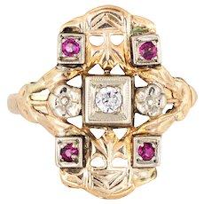 Diamond Ruby Shield Ring Vintage 14 Karat Yellow Gold Square Estate Fine Jewelry 5.75