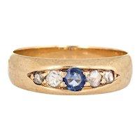 Antique Victorian Gypsy Band Diamond Sapphire 14 Karat Yellow Gold Sz 8 Vintage Ring