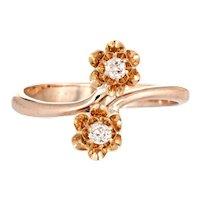 Antique Victorian Diamond Ring Moi et Toi Old Mine Cut 10 Karat Yellow Gold Vintage 8
