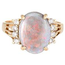 Opal Diamond Ring Vintage 14 Karat Yellow Gold Oval Cocktail Jewelry Red Green Orange