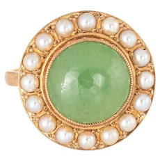 Jade Cultured Pearl Ring Vintage 14 karat Yellow Gold Round Cocktail Estate Jewelry