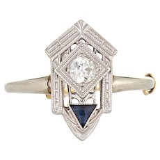 Vintage Art Deco Diamond Sapphire Ring 18 Karat White Gold Fine Antique Jewelry 6.25