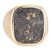 Natural Gold in Ironstone Ring Vintage 18 Karat Mens Signet Sz 7.5 Estate Jewelry