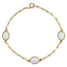 Vintage Art Deco Rainbow Blue Moonstone Bracelet Antique 14 Karat Yellow Gold Estate