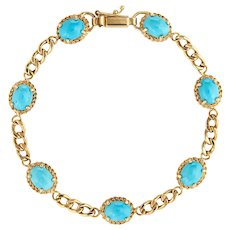 "Egg Shell Turquoise Bracelet 14 Karat Yellow Gold Curb Link 7"" Estate Fine Jewelry"