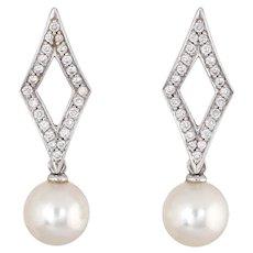 Mikimoto Diamond Cultured Akoya Pearl Earrings 18 Karat White Gold Estate Triangle