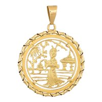 Japanese Pendant Vintage 18 Karat Yellow Gold Round Charm Lantern Temple Jewelry