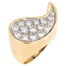 Retro Vintage Diamond Ring 14 Karat Yellow Gold Pave Set Sz 5 Fine Cocktail Jewelry