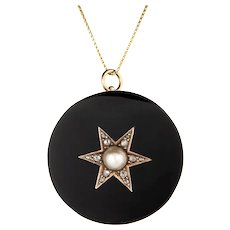 Antique Victorian Star Pendant Onyx Diamond Pearl Vintage 14 Karat Yellow Gold Fine