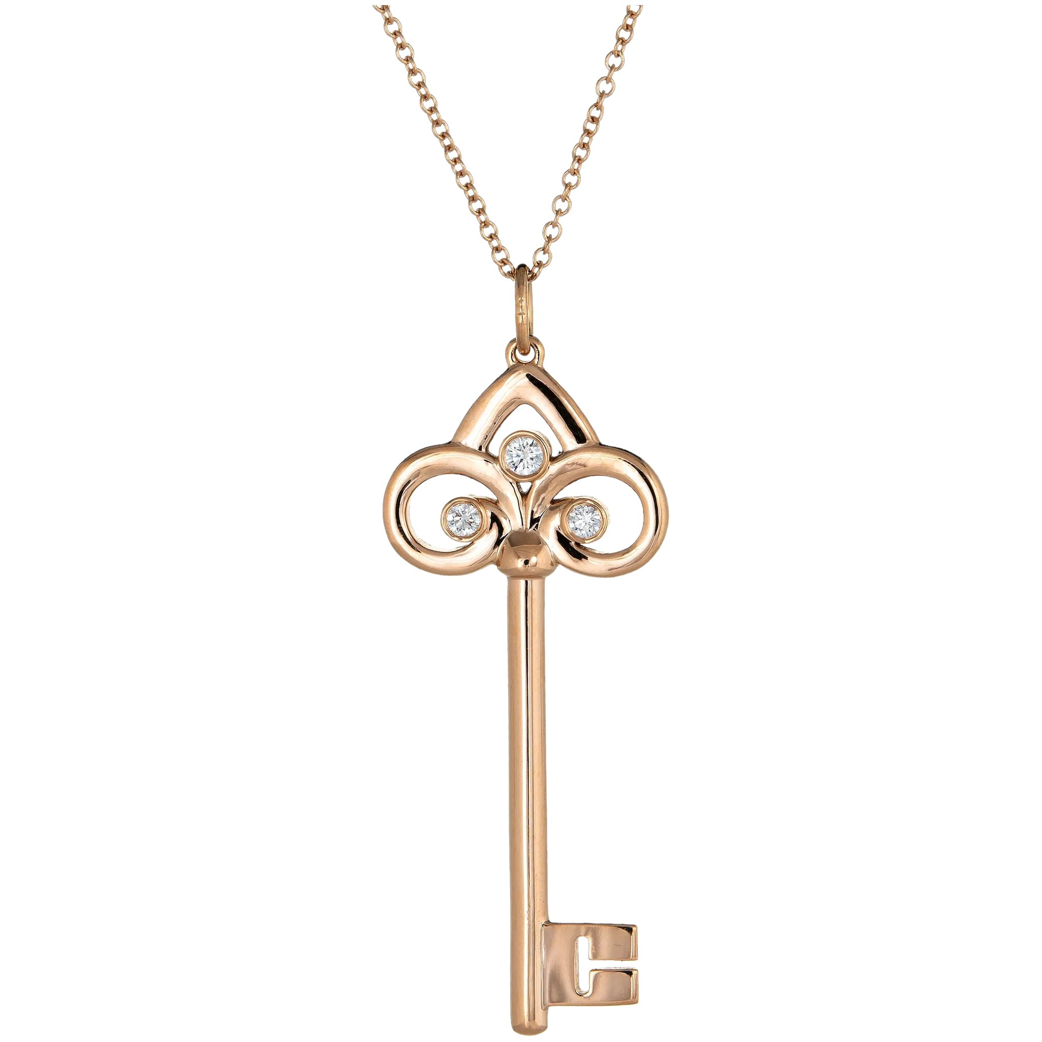 Tiffany Co Fleur De Lis Diamond Key Pendant Necklace 18 Karat Rose Sophie Jane Ruby Lane