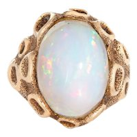 Vintage Large Fiery Opal Ring 1970s 14 Karat Yellow Gold Sz 6.5 Estate Fine Jewelry