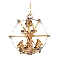 Vintage Anchor Charm Pendant 14 Karat Yellow Gold Nautical Jewelry Small Round Wheel