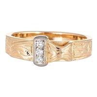 Vintage Diamond Buckle Ring 18 Karat Yellow Gold Sz 4 Pinky Band Estate Jewelry