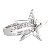 Diamond Shooting Star Ring Estate 14 Karat White Gold Sz 5.25 Fine Jewelry Celestial