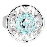 Vianna Brasil Paraiba Tourmaline Diamond Ring Estate 18 Karat White Gold Round 6.75