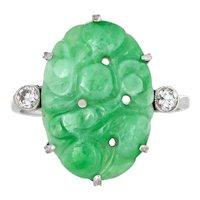 Vintage Carved Jade Diamond Ring 18 Karat White Gold Estate Fine Jewelry Green 7.75
