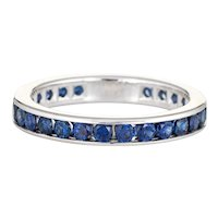 Tiffany & Co Sapphire Eternity Ring Sz 6.75 Band Estate Platinum Signed Jewelry